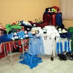 Kit donated by Shifnall Town, The RAF, Wallsend Boys Club and TPV Finland